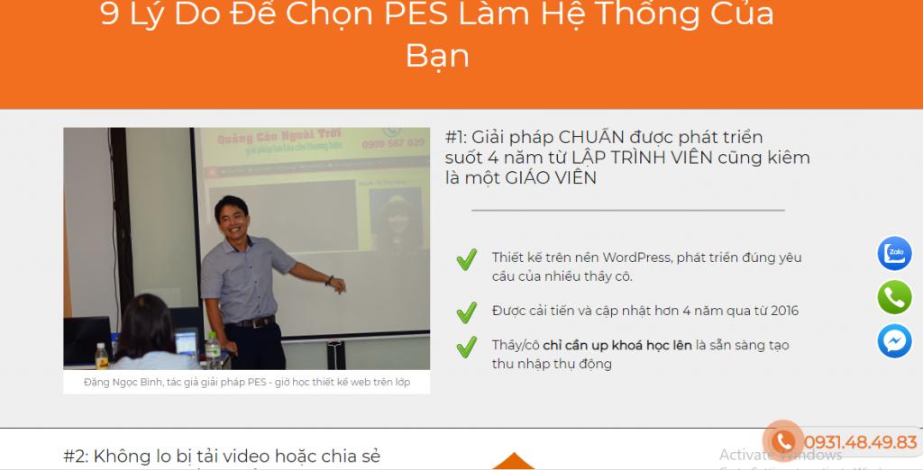 thiết kế web dạy học trực tuyến PES